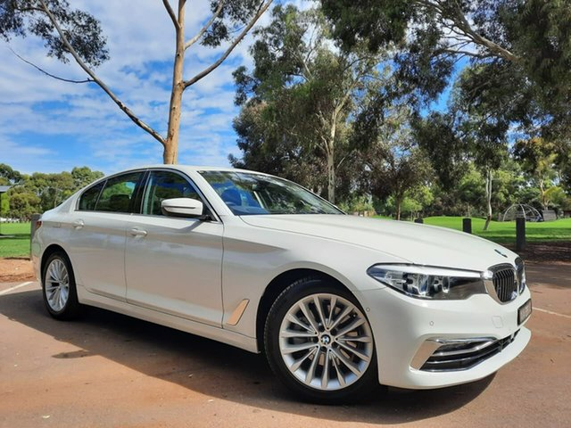 Used BMW 5 Series G30 520i Steptronic Luxury Line Adelaide, 2020 BMW 5 Series G30 520i Steptronic Luxury Line White 8 Speed Sports Automatic Sedan