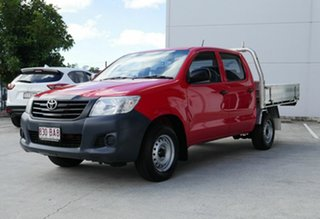 2012 Toyota Hilux TGN16R MY12 Workmate 4x2 Red 5 Speed Manual Cab Chassis.