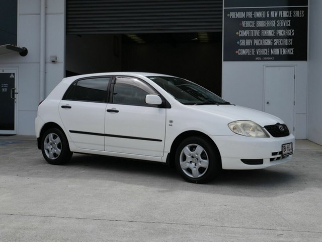 Used Toyota Corolla ZZE122R Ascent Capalaba, 2003 Toyota Corolla ZZE122R Ascent White 4 Speed Automatic Hatchback