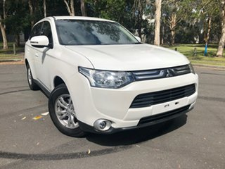 2013 Mitsubishi Outlander ZJ MY14 LS (4x4) White Continuous Variable Wagon.