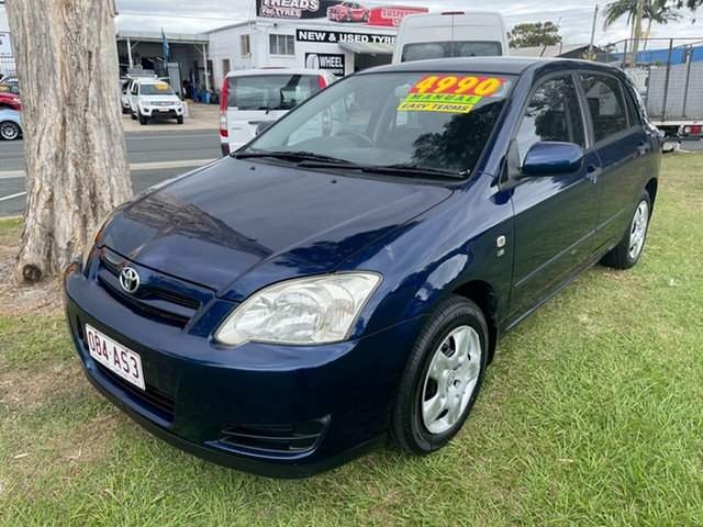 Used Toyota Corolla ZZE122R 5Y Ascent Clontarf, 2004 Toyota Corolla ZZE122R 5Y Ascent Blue 5 Speed Manual Hatchback