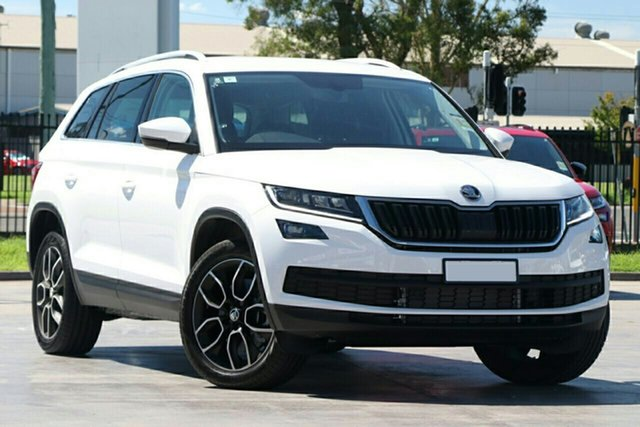 New Skoda Kodiaq NS MY21 132TSI DSG Parramatta, 2021 Skoda Kodiaq NS MY21 132TSI DSG Moon White 7 Speed Sports Automatic Dual Clutch Wagon