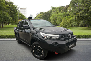2018 Toyota Hilux GUN126R Rugged Double Cab Black 6 Speed Sports Automatic Utility.