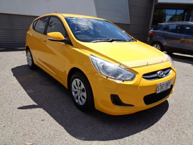 Used Hyundai Accent RB3 MY16 Active Elizabeth, 2016 Hyundai Accent RB3 MY16 Active Yellow 6 Speed Manual Hatchback