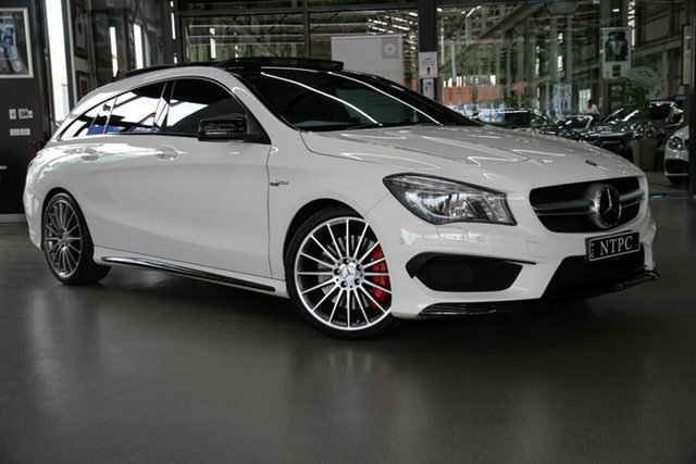 Used Mercedes-Benz CLA-Class X117 806MY CLA45 AMG Shooting Brake SPEEDSHIFT DCT 4MATIC North Melbourne, 2016 Mercedes-Benz CLA-Class X117 806MY CLA45 AMG Shooting Brake SPEEDSHIFT DCT 4MATIC White 7 Speed