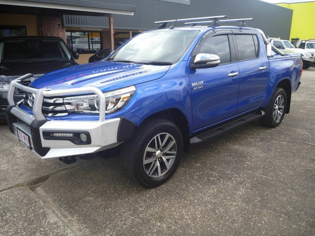 Used Toyota Hilux GUN126R SR5 Double Cab Morayfield, 2016 Toyota Hilux GUN126R SR5 Double Cab Blue 6 Speed Manual Utility