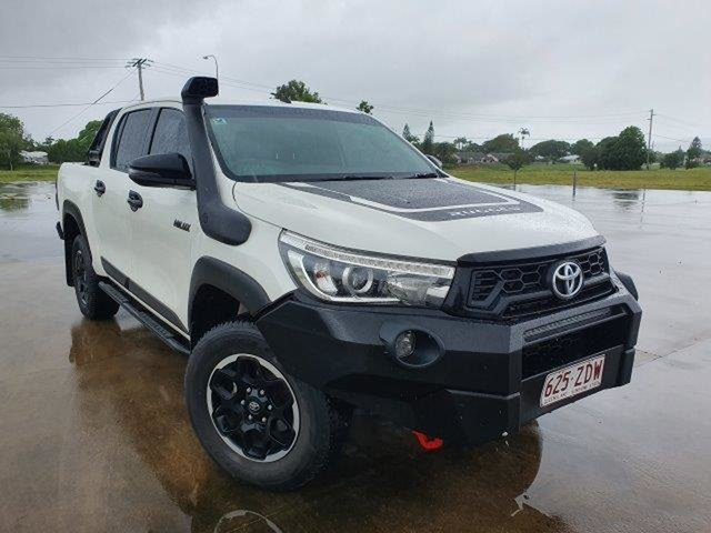 Used Toyota Hilux GUN126R Rugged X Double Cab Townsville, 2019 Toyota Hilux GUN126R Rugged X Double Cab Glacier White 6 Speed Sports Automatic Utility