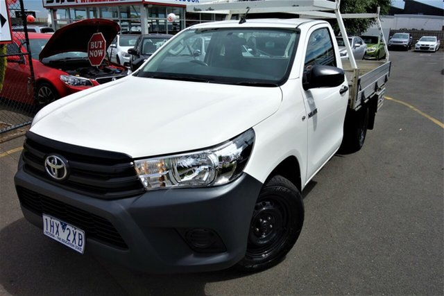 Used Toyota Hilux GUN122R Workmate 4x2 Seaford, 2016 Toyota Hilux GUN122R Workmate 4x2 White 5 Speed Manual Cab Chassis