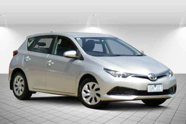 Used Toyota Corolla ZRE182R MY15 Ascent Oakleigh South, 2015 Toyota Corolla ZRE182R MY15 Ascent Adventurine Silver 7 Speed CVT Auto Sequential Hatchback