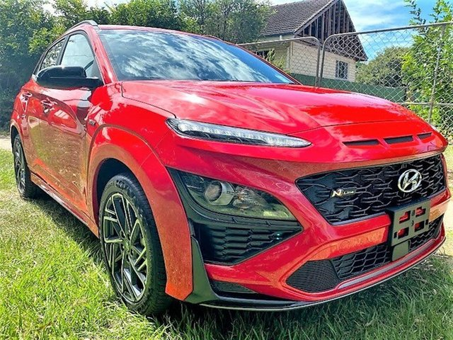 Demo Hyundai Kona Os.v4 MY21 N-Line D-CT AWD Mount Gravatt, 2020 Hyundai Kona Os.v4 MY21 N-Line D-CT AWD Ignite Flame 7 Speed Sports Automatic Dual Clutch Wagon