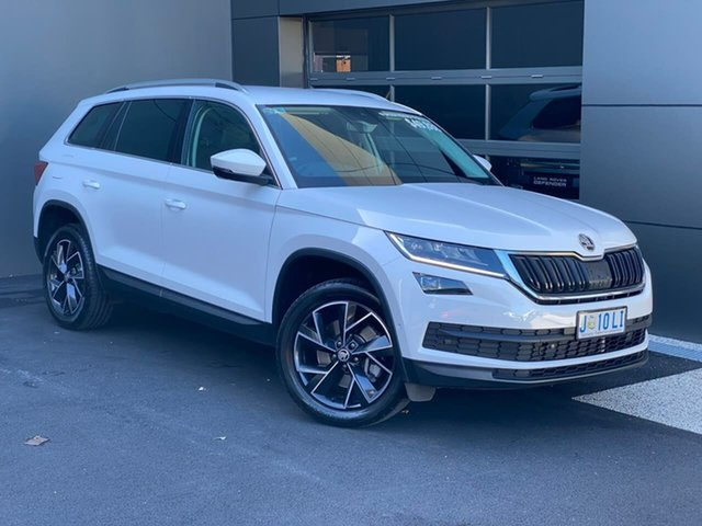 Used Skoda Kodiaq NS MY19 132TSI DSG Hobart, 2019 Skoda Kodiaq NS MY19 132TSI DSG White 7 Speed Sports Automatic Dual Clutch Wagon
