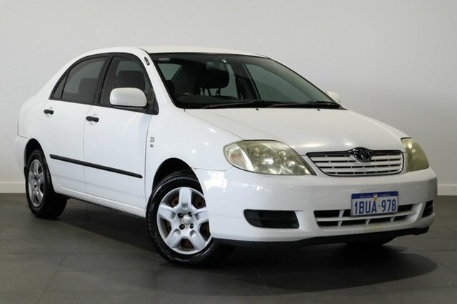Used Toyota Corolla ZZE122R Ascent Bayswater, 2004 Toyota Corolla ZZE122R Ascent White 4 Speed Automatic Sedan