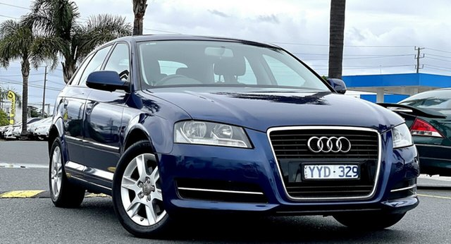 Used Audi A3 8P MY12 Attraction Sportback S Tronic Cheltenham, 2011 Audi A3 8P MY12 Attraction Sportback S Tronic Dark Blue 7 Speed Sports Automatic Dual Clutch
