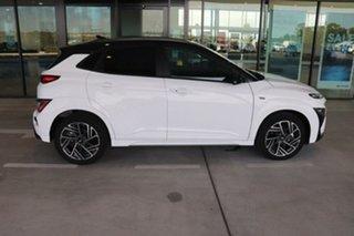 2020 Hyundai Kona Os.v4 MY21 Atlas White Black Roof 7 Speed Sports Automatic Dual Clutch Wagon.