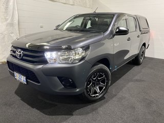 2017 Toyota Hilux TGN121R Workmate Double Cab 4x2 Grey 5 Speed Manual Utility