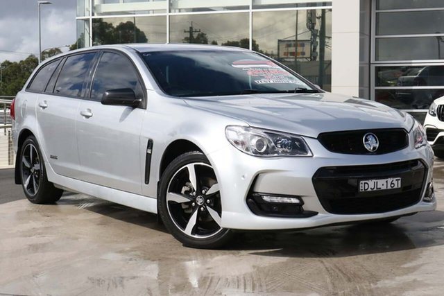 Used Holden Commodore VF II MY16 SV6 Sportwagon Black Liverpool, 2016 Holden Commodore VF II MY16 SV6 Sportwagon Black Silver 6 Speed Sports Automatic Wagon