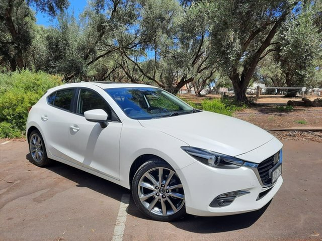 Used Mazda 3 BN5438 SP25 SKYACTIV-Drive Astina Adelaide, 2018 Mazda 3 BN5438 SP25 SKYACTIV-Drive Astina White 6 Speed Sports Automatic Hatchback
