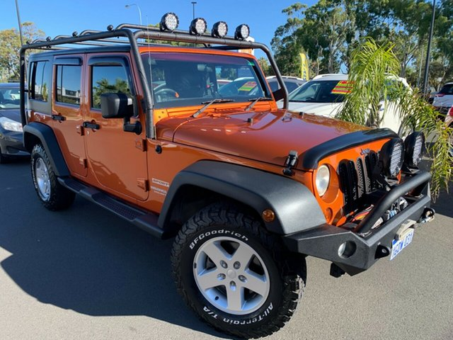 Used Jeep Wrangler JK MY2011 Unlimited Sport Bunbury, 2011 Jeep Wrangler JK MY2011 Unlimited Sport Orange 6 Speed Manual Softtop