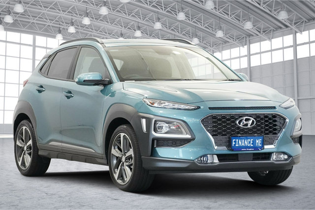 Used Hyundai Kona OS.3 MY20 Highlander 2WD Victoria Park, 2020 Hyundai Kona OS.3 MY20 Highlander 2WD Ceramic Blue 6 Speed Sports Automatic Wagon