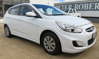 2016 Hyundai Accent Active White Automatic Hatchback.