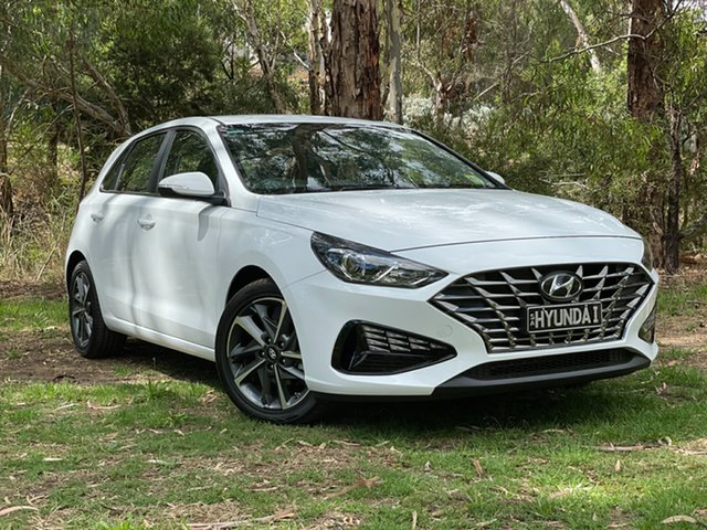 Demo Hyundai i30 PD.V4 MY21 Elite Reynella, 2020 Hyundai i30 PD.V4 MY21 Elite Polar White 6 Speed Automatic Hatchback