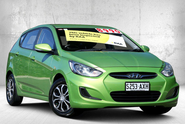 Used Hyundai Accent RB Active Valley View, 2013 Hyundai Accent RB Active Apple Green 5 Speed Manual Hatchback