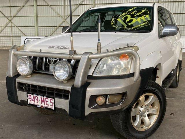 Used Toyota Landcruiser Prado KZJ120R GXL Rocklea, 2006 Toyota Landcruiser Prado KZJ120R GXL White 5 Speed Manual Wagon