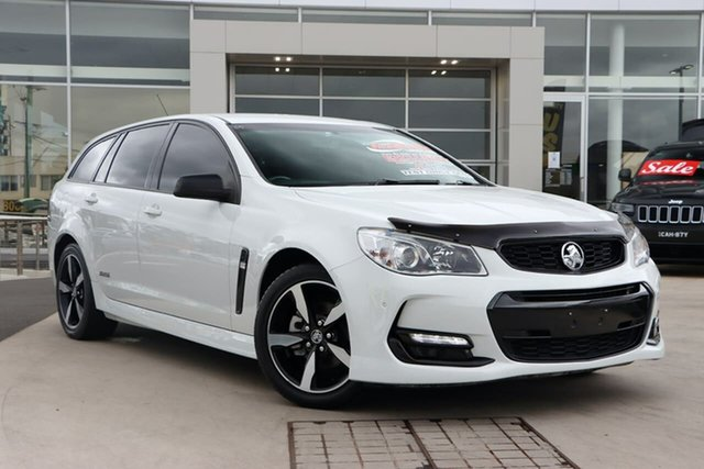 Used Holden Commodore VF II MY16 SV6 Sportwagon Black Liverpool, 2016 Holden Commodore VF II MY16 SV6 Sportwagon Black White 6 Speed Sports Automatic Wagon
