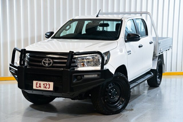 Used Toyota Hilux GUN126R SR Double Cab Hendra, 2017 Toyota Hilux GUN126R SR Double Cab White 6 Speed Sports Automatic Cab Chassis