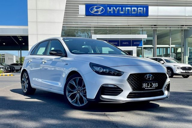 Demo Hyundai i30 PD.V4 MY21 N Line Premium South Melbourne, 2020 Hyundai i30 PD.V4 MY21 N Line Premium Polar White 7 Speed Auto Dual Clutch Hatchback