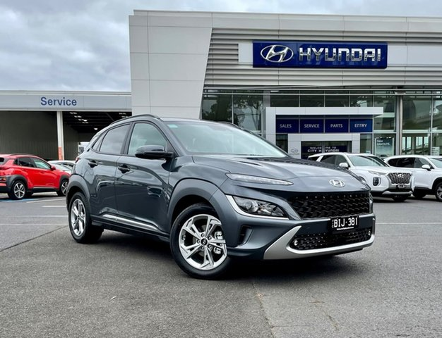 Demo Hyundai Kona Os.v4 MY21 Elite 2WD South Melbourne, 2021 Hyundai Kona Os.v4 MY21 Elite 2WD Dark Knight 8 Speed Constant Variable Wagon