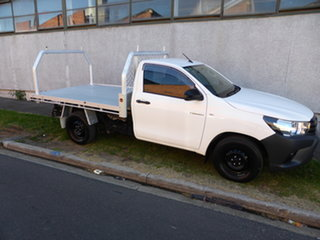 2016 Toyota Hilux GUN122R Workmate 4x2 Antarctic White 5 Speed Manual Cab Chassis.