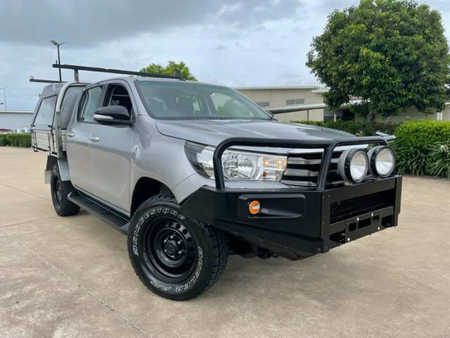 Used Toyota Hilux GUN126R SR5 Double Cab Townsville, 2016 Toyota Hilux GUN126R SR5 Double Cab Silver 6 Speed Manual Utility