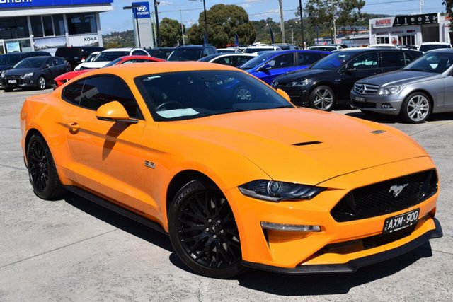 Used Ford Mustang FN 2018MY GT Fastback Ferntree Gully, 2018 Ford Mustang FN 2018MY GT Fastback Orange 6 Speed Manual Fastback