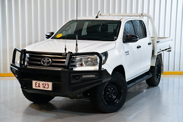 Used Toyota Hilux GUN126R SR Double Cab Hendra, 2018 Toyota Hilux GUN126R SR Double Cab White 6 Speed Sports Automatic Cab Chassis