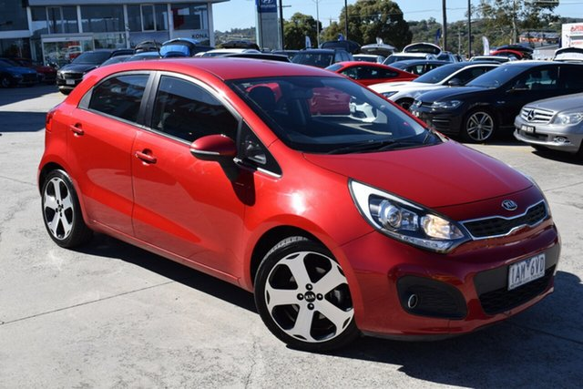 Used Kia Rio UB MY12 SLi Ferntree Gully, 2012 Kia Rio UB MY12 SLi Red/Black 6 Speed Sports Automatic Hatchback
