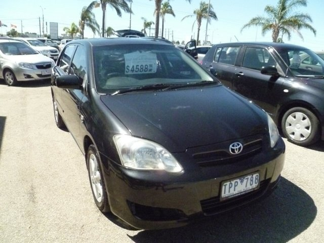Used Toyota Corolla ZZE122R 5Y Ascent Sport Moorabbin, 2005 Toyota Corolla ZZE122R 5Y Ascent Sport Black 4 Speed Automatic Hatchback
