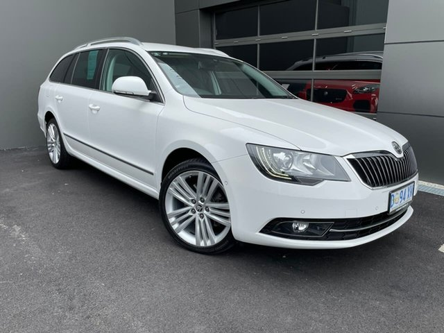 Used Skoda Superb 3T MY14 Elegance DSG 125TDI Hobart, 2014 Skoda Superb 3T MY14 Elegance DSG 125TDI White 6 Speed Sports Automatic Dual Clutch Wagon