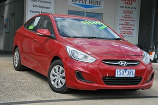 2016 Hyundai Accent RB3 MY16 Active Red 6 Speed CVT Auto Sequential Sedan.