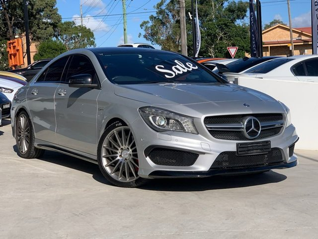 Used Mercedes-Benz CLA-Class C117 806MY CLA45 AMG SPEEDSHIFT DCT 4MATIC Liverpool, 2015 Mercedes-Benz CLA-Class C117 806MY CLA45 AMG SPEEDSHIFT DCT 4MATIC Silver 7 Speed