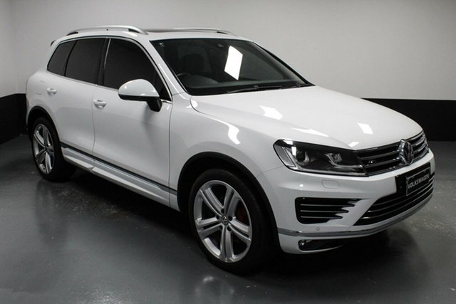 Used Volkswagen Touareg 7P MY18 V8 TDI Tiptronic 4MOTION R-Line Hamilton, 2017 Volkswagen Touareg 7P MY18 V8 TDI Tiptronic 4MOTION R-Line White 8 Speed Sports Automatic Wagon