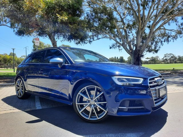 Used Audi S3 8V MY18 Sportback S Tronic Quattro Adelaide, 2017 Audi S3 8V MY18 Sportback S Tronic Quattro Blue 7 Speed Sports Automatic Dual Clutch Hatchback