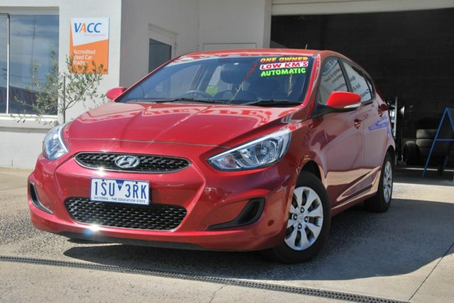 Used Hyundai Accent RB4 MY16 Active Wendouree, 2016 Hyundai Accent RB4 MY16 Active Red 6 Speed CVT Auto Sequential Hatchback