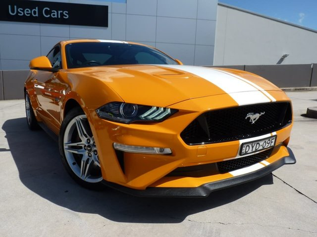 Pre-Owned Ford Mustang FN 2019MY GT Blacktown, 2018 Ford Mustang FN 2019MY GT Orange 6 Speed Manual Fastback