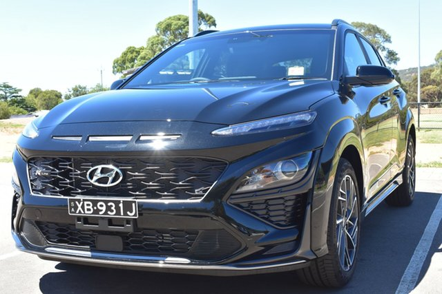 Demo Hyundai Kona Os.v4 MY21 N-Line D-CT AWD St Marys, 2020 Hyundai Kona Os.v4 MY21 N-Line D-CT AWD Phantom Black 7 Speed Sports Automatic Dual Clutch
