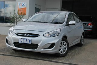 2016 Hyundai Accent RB4 MY17 Active Silver 6 Speed CVT Auto Sequential Sedan.