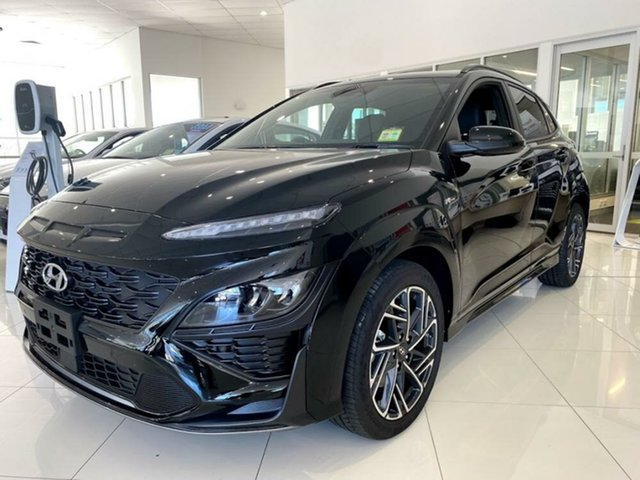 New Hyundai Kona Os.v4 MY21 N-Line D-CT AWD Premium Springwood, 2020 Hyundai Kona Os.v4 MY21 N-Line D-CT AWD Premium Phantom Black 7 Speed
