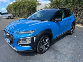 2018 Hyundai Kona OS MY18 Highlander D-CT AWD Blue 7 Speed Sports Automatic Dual Clutch Wagon