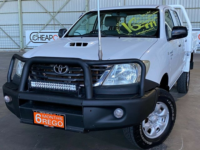 Used Toyota Hilux KUN26R MY12 SR Double Cab Rocklea, 2011 Toyota Hilux KUN26R MY12 SR Double Cab White 5 Speed Manual Utility