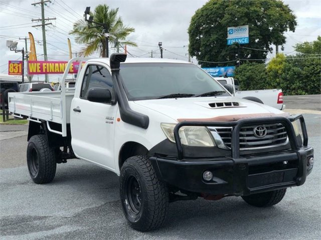 Used Toyota Hilux KUN26R Workmate Archerfield, 2012 Toyota Hilux KUN26R Workmate White 5 Speed Manual Cab Chassis
